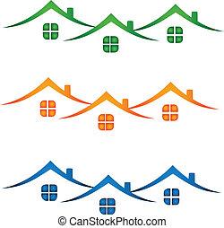 真正, 房子, 財產, 鮮艷, logo-