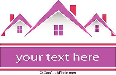 真正, 粉紅色, 房子, 財產, 標識語