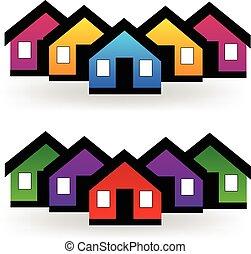 真正, 集合, 財產, 房子, 矢量, 標識語