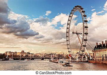 眼睛, 倫敦, 英國, skyline., england, 倫敦