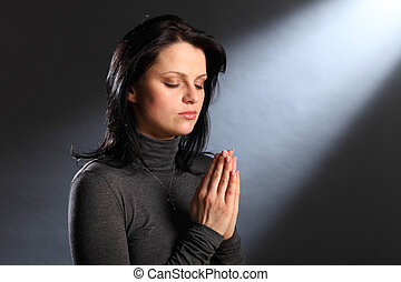 眼睛, 婦女, 年輕, 宗教, 片刻, 關閉, 禱告