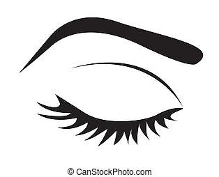 眼睛, 黑色半面畫像, 眉毛, 鞭子