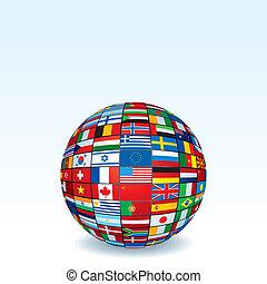 矢量, 世界全球, 做, 旗