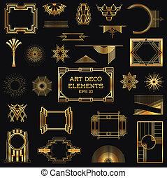 矢量, 元素, 藝術, 葡萄酒, -, deco, 設計, 框架