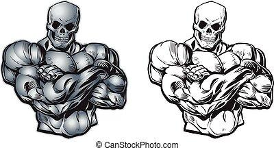 矢量, 卡通, 肌肉, 頭骨, 軀幹, 頭