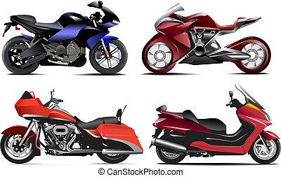 矢量, 四, 現代, 插圖, motorcycle.