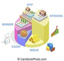 矢量, 圖形, 圖表, 餅, 投資, illustration., 顯示, 等量, 類型, infographic, 金融, 文件夾