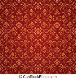 矢量, 圖案, seamless, 牆紙, 紅色