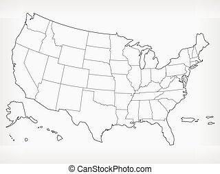 矢量, 圖畫, outline, 美國, 心不在焉地亂寫亂畫, 空白, 地圖, 被隔离, 美國