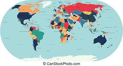 矢量, 地圖, 世界, 政治, 詳細