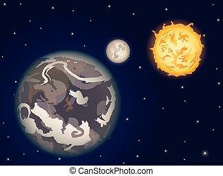 矢量, 地球, 太陽, 月亮