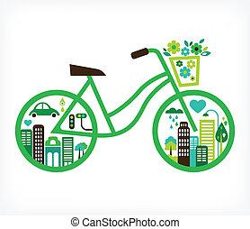 矢量, 城市, -, 自行車, 綠色