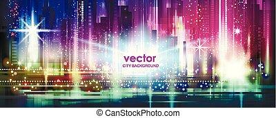 矢量, 夜晚, 城市電燈, 發光, 背景