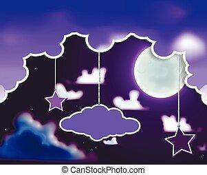矢量, 天空, 夜晚