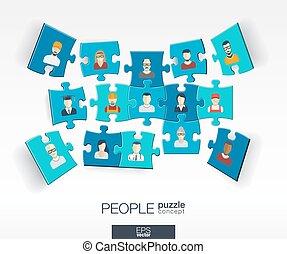 矢量, 套間, 概念, 网絡, 難題, 顏色, 媒介, 摘要, icons., 片斷, 人們, infographic, 連線, 插圖, 背景, 社會, perspective., 技術, 交談方式式, 整合, 3d