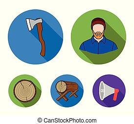 矢量, 套間, 風格, 傷口, 日誌, 斧, 圖象, logs., 木匠, web., 彙整, 集合, 插圖, 支持, 木材, 符號, 鋸木厂, 股票