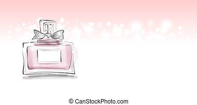 矢量, 女性, 瓶子, 插圖, 弓, 香水, 樣板