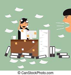 矢量, 婦女, 概念, 她。, 辦公室, 管理, 努力, 她, 老板, 事務, 工作, 忙, 最終期限, 時間, damn, illustration.