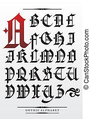 矢量, 字母表, 洗禮盆, 哥特式, 類型