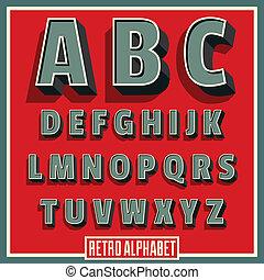 矢量, 字母表, 洗禮盆, 類型, retro