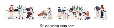 矢量, 字符, 坐, 白色, set., openspace, 套間, 辦公室, 卡通, ergonomic, 後面, coworking, 家具, 說明, 工作, area., 被隔离, 站立, 工作區, 背景。, 當代, 雇員