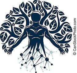 矢量, 字, 做, 自然, eco, 神秘主義者, wireframe, 樹, leaves., 濾網, 連接, balance., 人類, 生態學, 科學, 相互作用, 技術, 個人