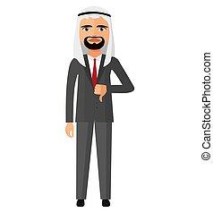 矢量, 字, 卡通, 憤怒, arab, 人, 事務, 酋長國, 插圖, 套間