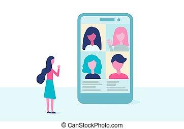 矢量, 屏幕, 工作, 遙遠, 會議, design., 人們, 影像, 教育, conference., 實際上, 套間, 通訊, 電話, concept., 組, 在網上, 談話。