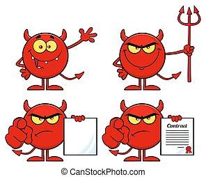 矢量, 彙整, 卡通, 魔鬼, character., 紅色, emoji