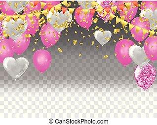 矢量, 心, 飛行, 气球, 插圖
