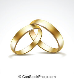 矢量, 戒指, 被隔离, 金, 婚禮