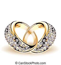 矢量, 戒指, 鑽石, 金, 婚禮