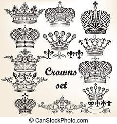 矢量, 手, 王冠, 集合, 畫