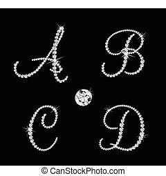 矢量, 按字母順序, 鑽石, 集合, letters.