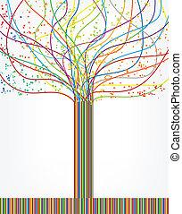 矢量, 摘要, lines., 樹, 鮮艷