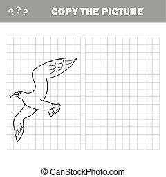 矢量, 教育, 著色, 插圖, 游戲, 書, 海鷗, 鳥