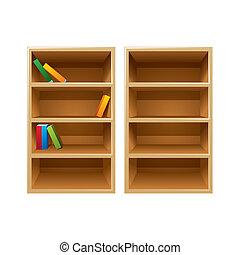 矢量, 書架, 木頭