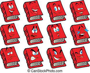 矢量, 書, 紅的臉