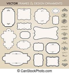 矢量, 框架, 集合, 裝飾品, 裝飾華麗