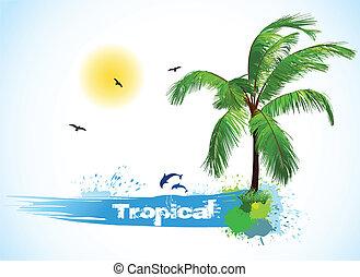 矢量, 椰子, palm., 海