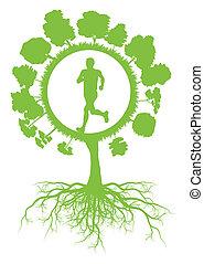 矢量, 概念, 健康, 樹, 環境, 跑, 生態學, 綠色的背景, 根, 人