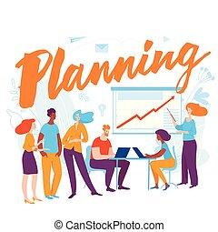 矢量, 概念, 商業界人士, 插圖, 計劃, 卡通