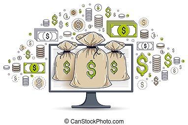 矢量, 概念, 監控, 圖象, 集合, 錢, 在上方, 在網上, 美元, 錢, 銀行業務, 電腦, 袋子, 網際網路, bookkeeping, 儲金, 電子, 或者, design.
