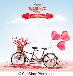 矢量, 概念, 自行車, 情人是, love., 匯接, hearts., 背景, 天, 紅色