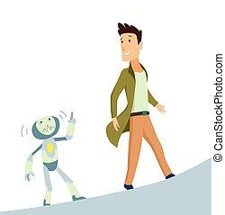 矢量, 概念, illustration., intelligence., 人工, robot., 相互作用, 人類