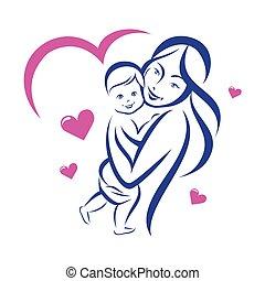 矢量, 概述, 家庭, 嬰孩, 略述, 母親, 高興的微笑