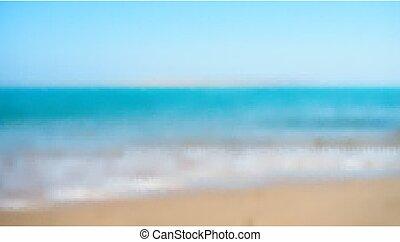 矢量, 沙子海灘, 被模糊不清, seashore., defocused, 背景。, 藍色, 海岸, 海岸線, 天空