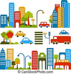 矢量, 漂亮, 街道, 插圖, 城市