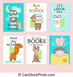 矢量, 漂亮, 集合, 動物, 書, 荒野, 閱讀卡片