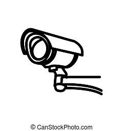 矢量, 照像機, cctv, 圖象, 符號, 安全, 插圖, 線
